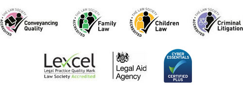 The Law Society Accredited Conveyancing Quality, The Law Society Accredited Family Law, The Law Society Accredited Criminal Litigation, Lexcel Legal Practice Quality Mark - Law Society Accredited, Legal Aid Agency, Cyber Essentials