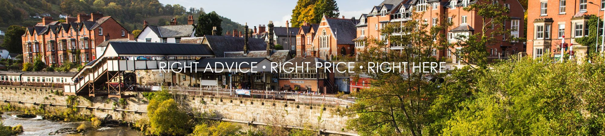 Right Advice • Right Price • Right Here tagline with Wrexham and North Wales scenery backdrop